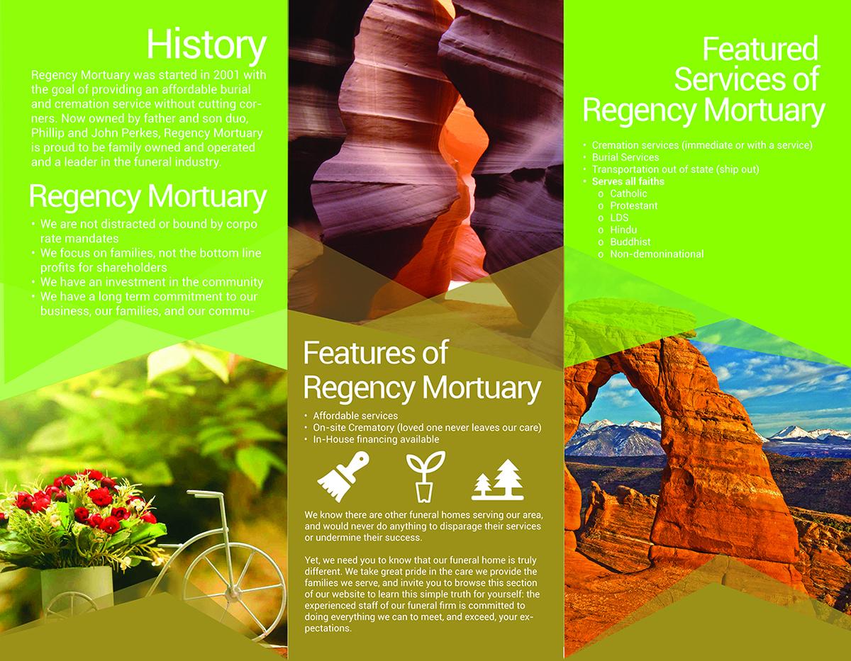 Modern, Colorful, Funeral Home Brochure Design for Regency Mortuary ...
