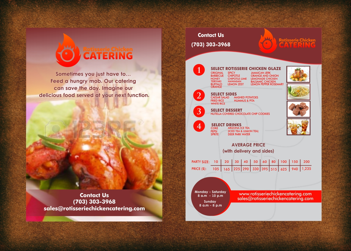 bold colorful catering flyer design for a company by hollyblue