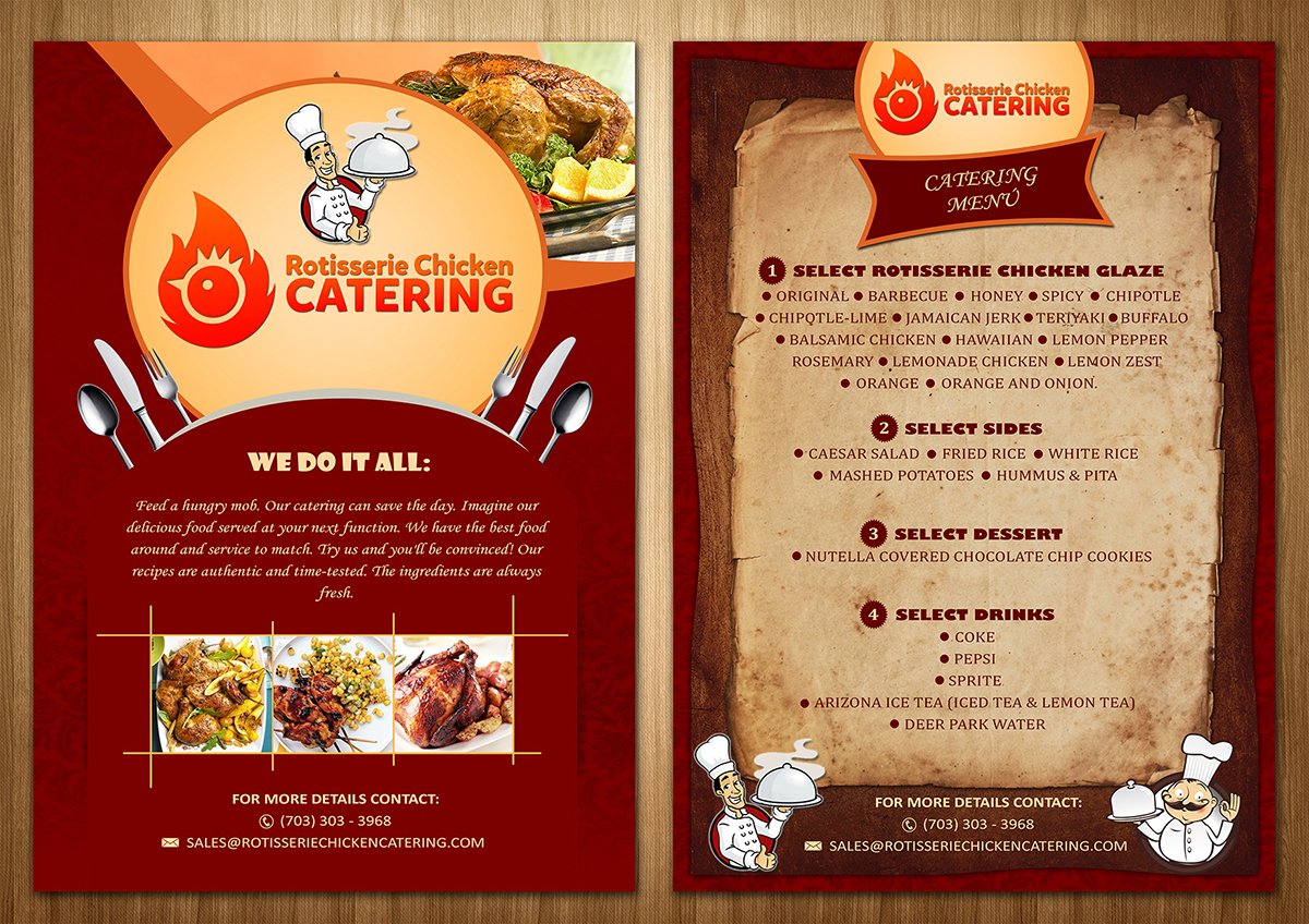 bold colorful catering flyer design for a company by sd web