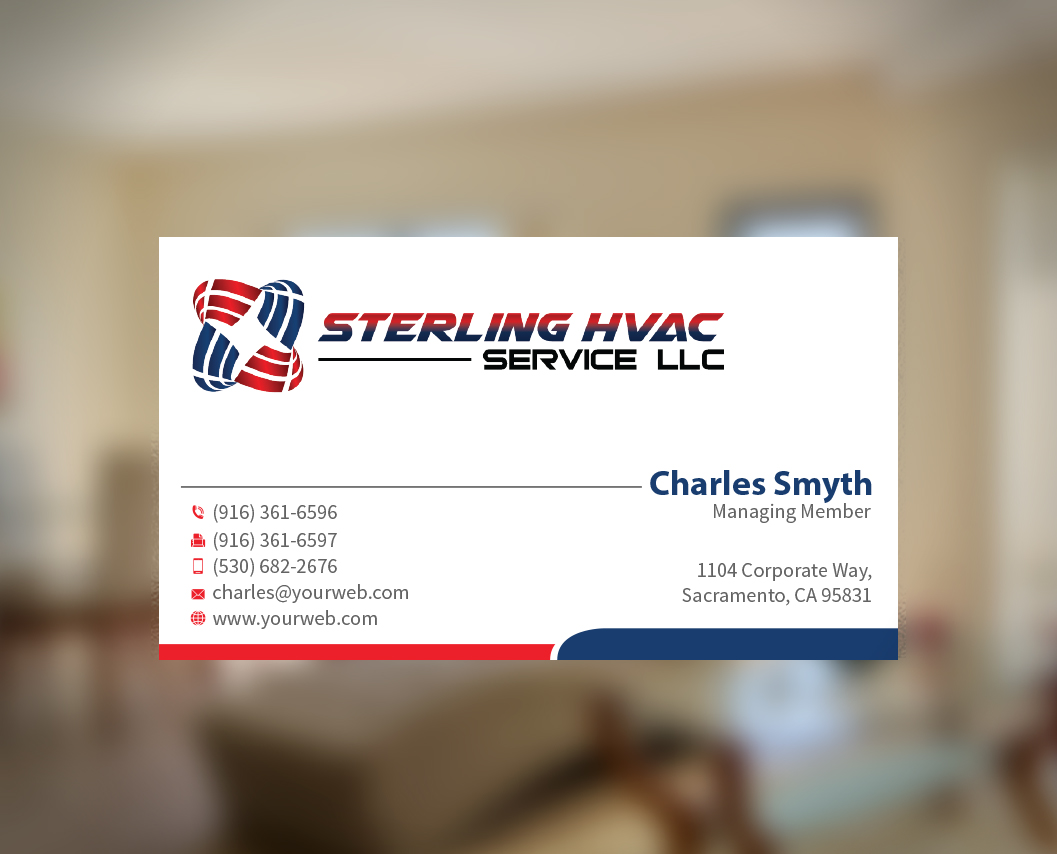 Masculine bold business business card design for sterling hvac business card design by mediaproductionart for sterling hvac service llc design 4561914 reheart Images