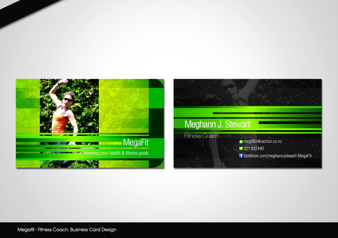 Business Card Design by disign for Megafit - Fitness Coach. Needs a Business Card Design that I can also use for other advertising - Design #1290066