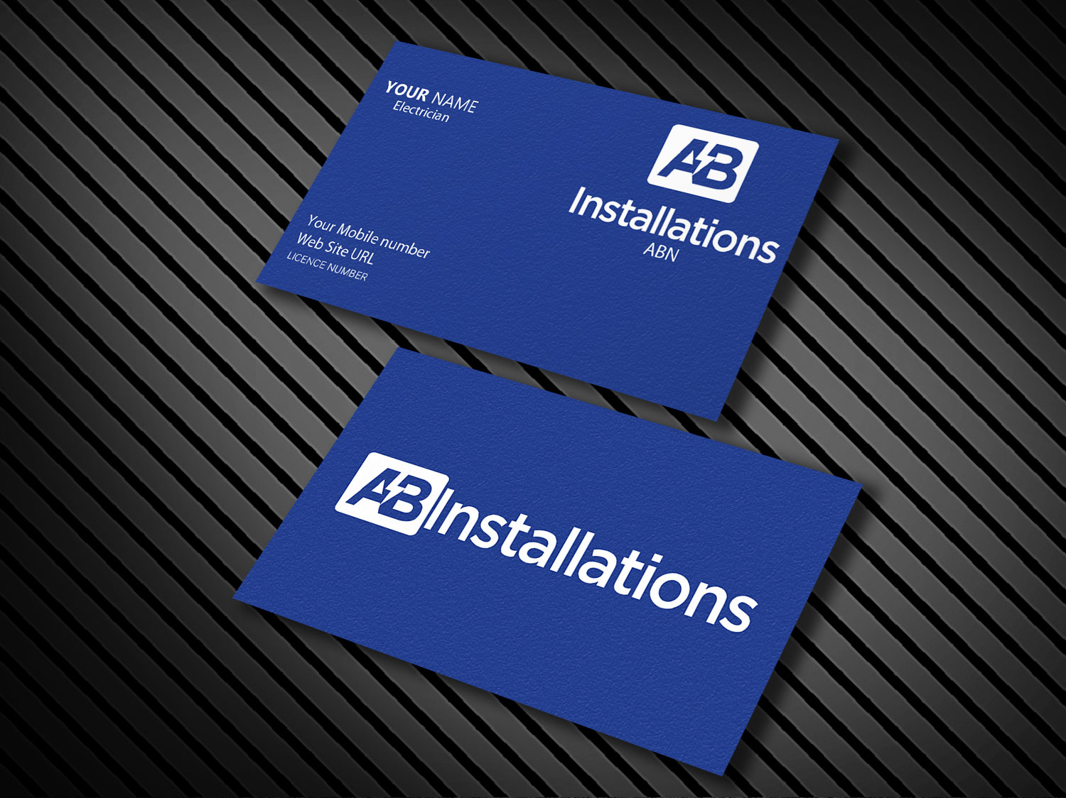 Electrician business card design for ab installations by pawana business card design by pawana designs for ab installations design 4509415 colourmoves Images