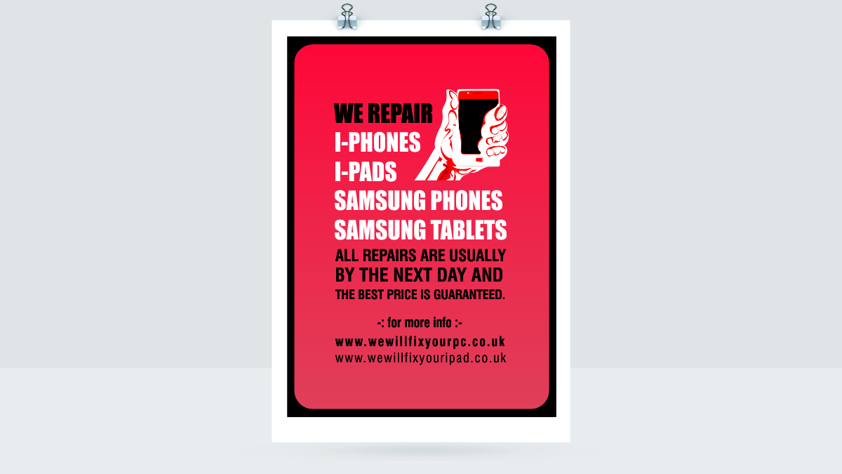 Poster design on ipad - Poster Design By Creativeride For Poster To Advertise That We Repair Iphone Ipad Samsung
