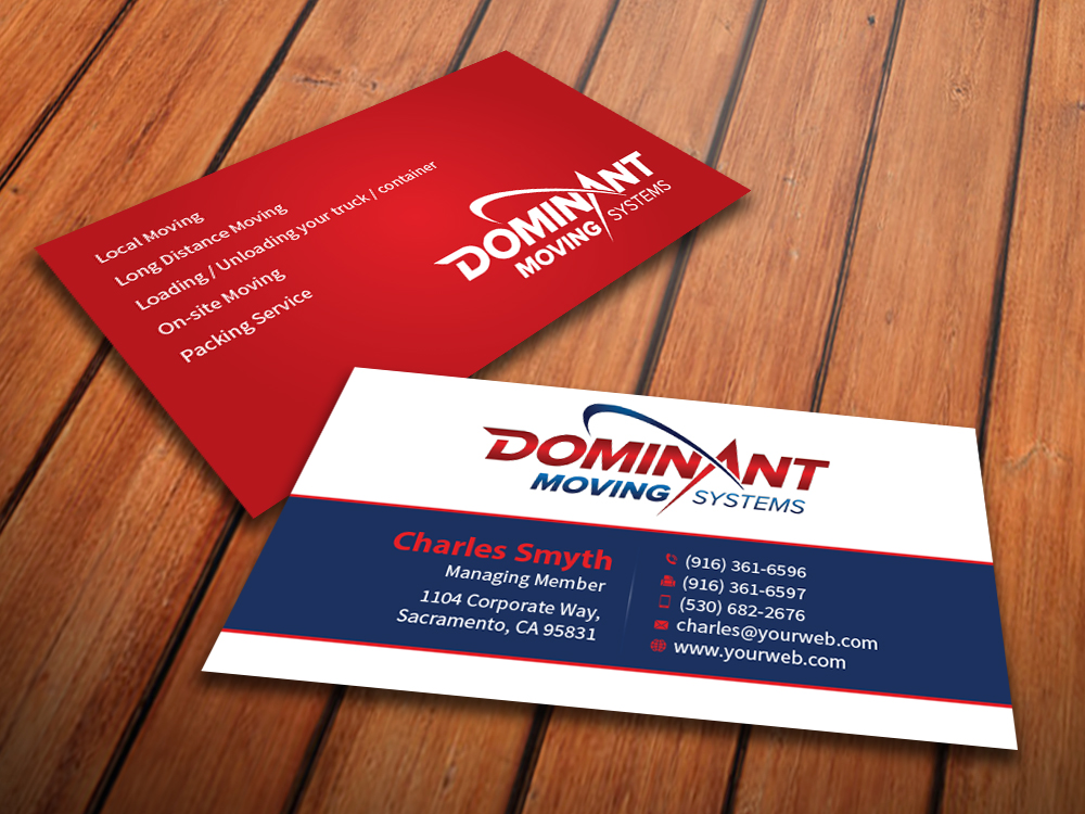 Business Card Design for Dominant Moving Systems by ...