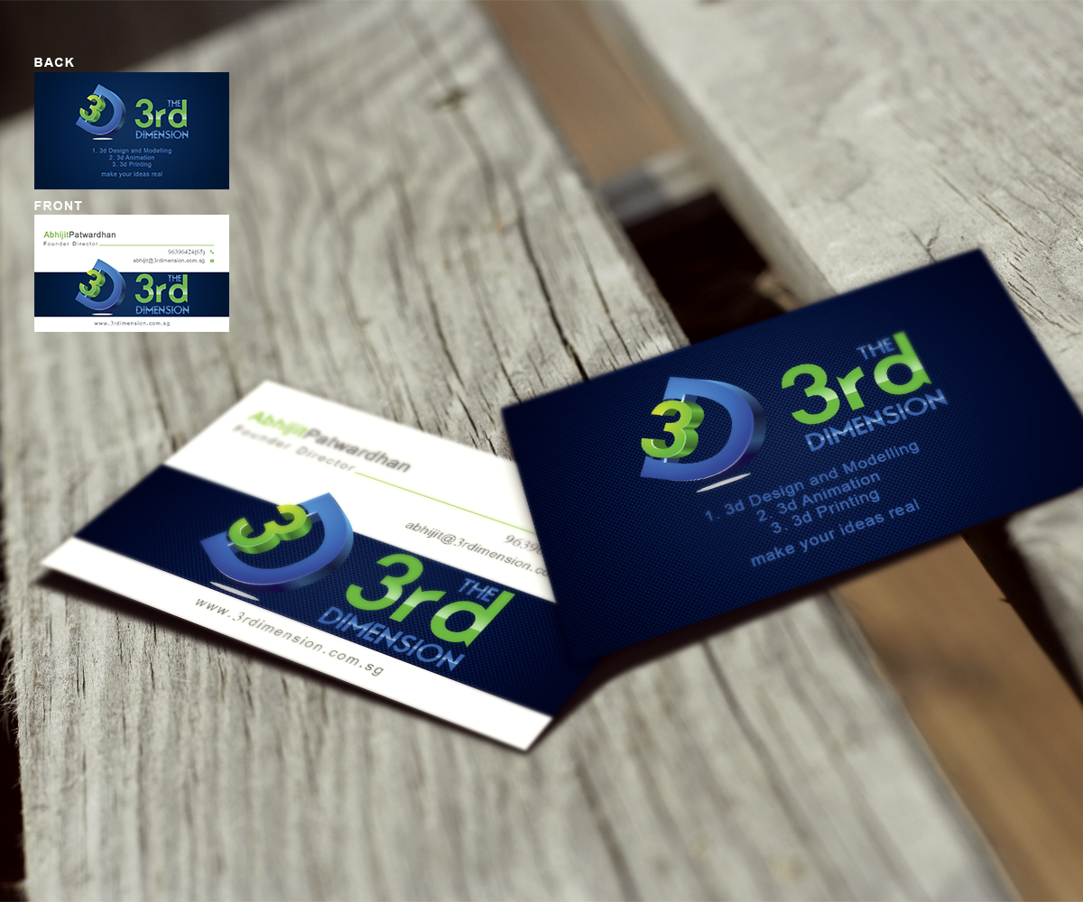 playful, feminine, printing business card design for the 3rd