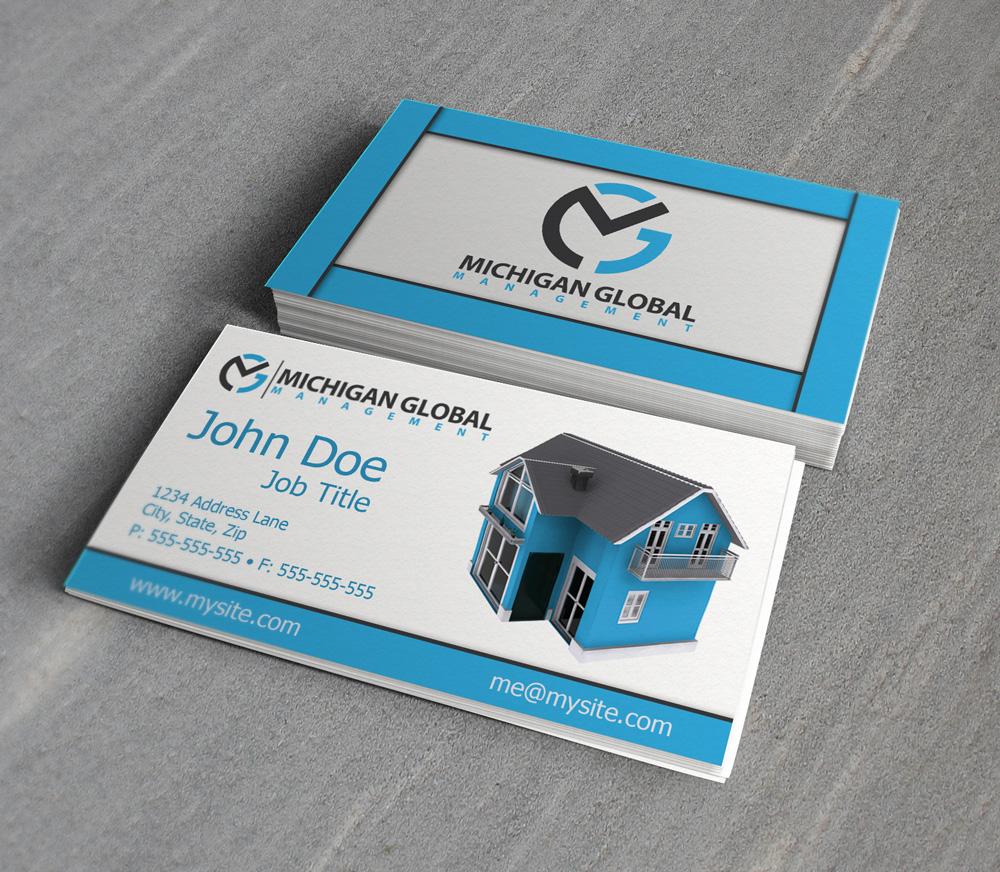 Elegant playful property management business card design for business card design by jessicad for michigan global design 1298921 colourmoves