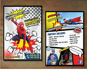 Flyer Design by alex989 - Superpowers Entertainment Childrens Party Enter...