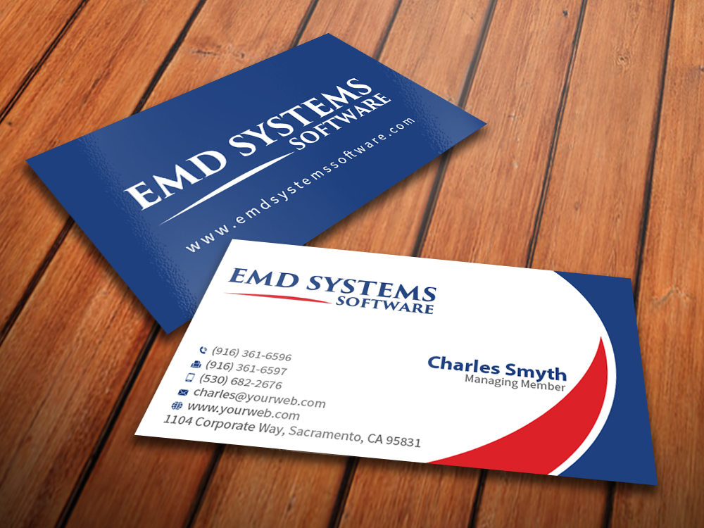 Modern elegant business business card design for emd systems business card design by mediaproductionart for emd systems software design 4848913 reheart Image collections