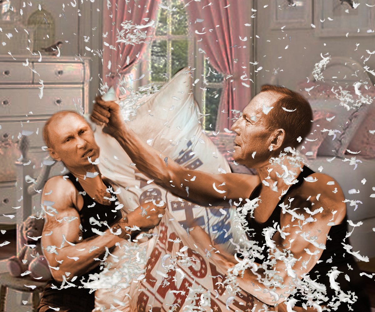 Photoshop Battle: Tony Abbott v Vladmir Putin Shirtfronting Each Other