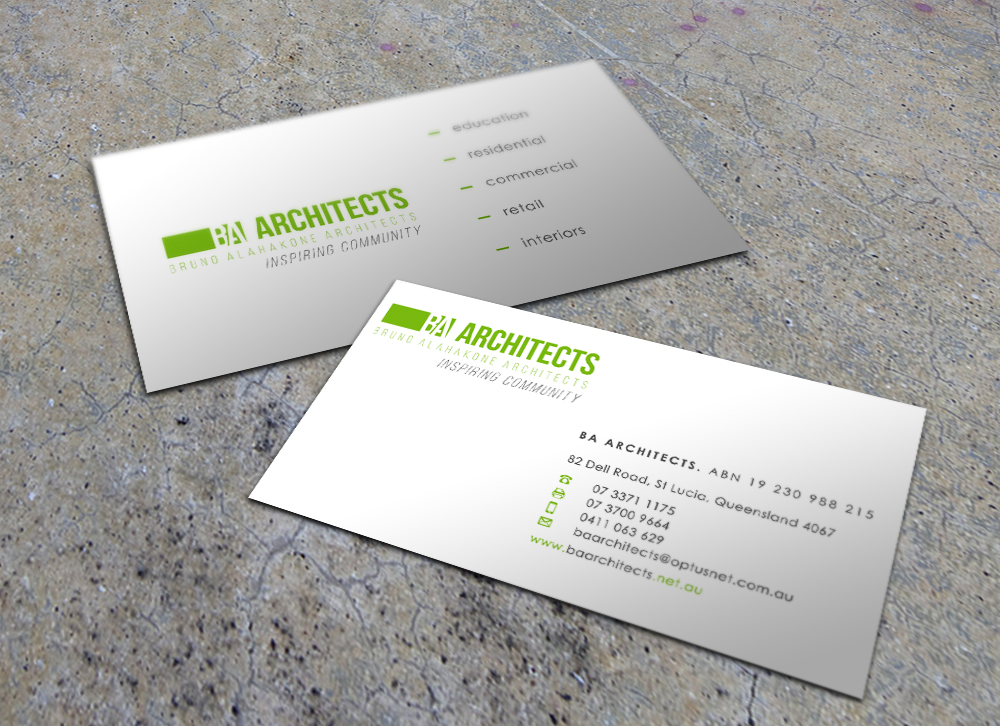 Business Card Design for BA Architects by Eggo May P | Design #4744595