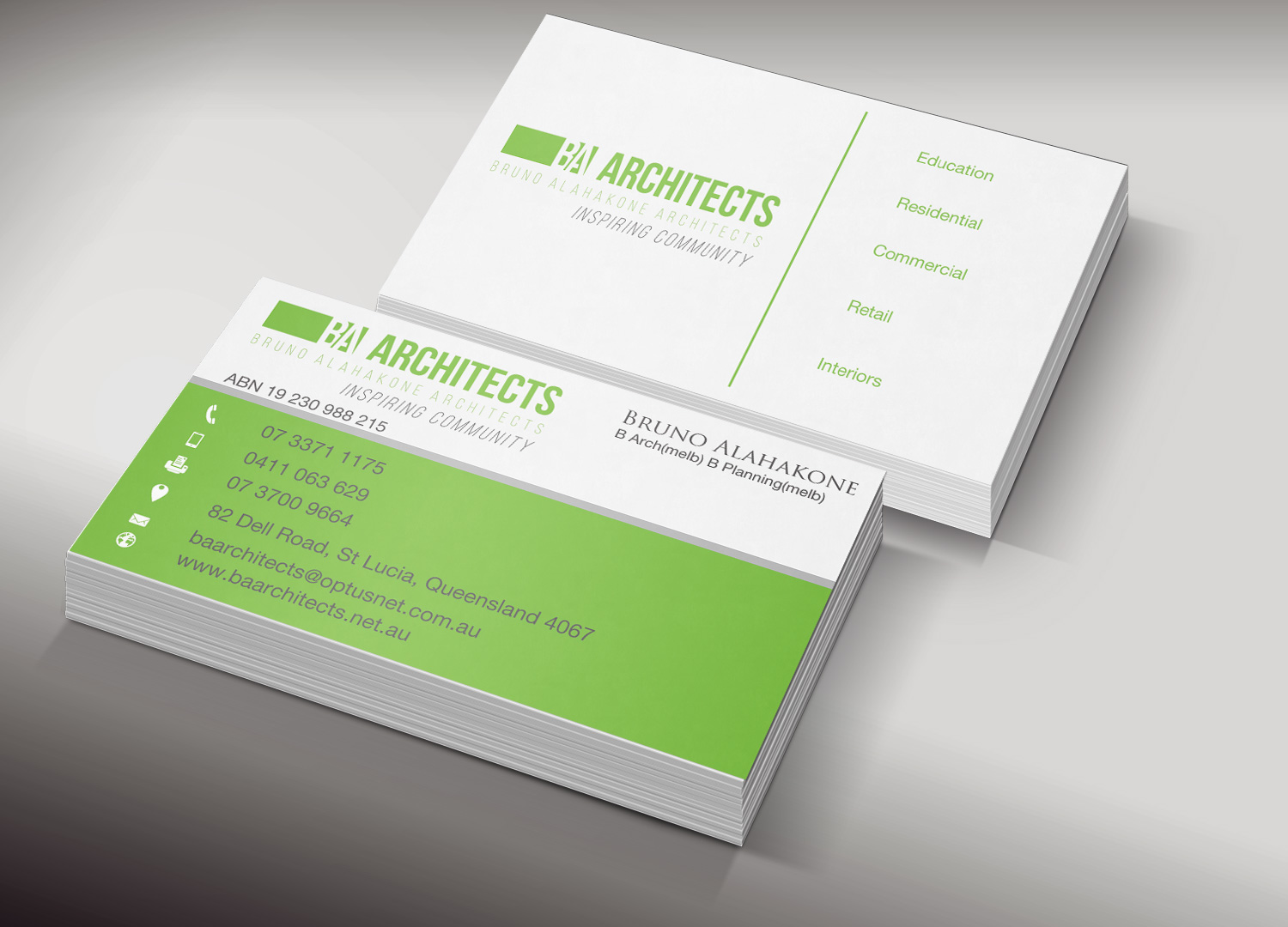 Professional Service Business Card Design for BA Architects by ...
