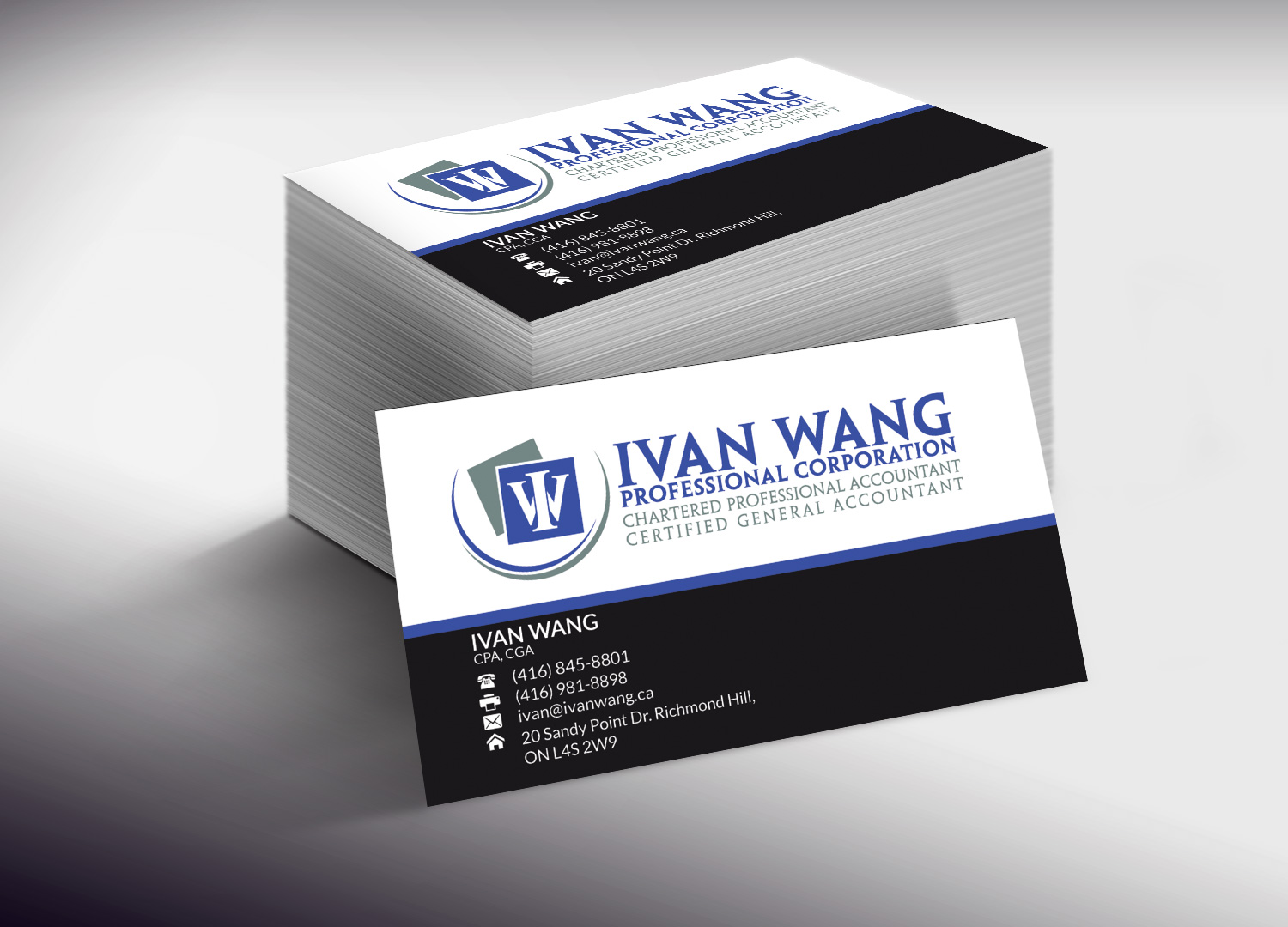 Business card design for ivan wang by lanka ama design 4703550 business card design by lanka ama for chartered professional accounting firm needs a business card design magicingreecefo Image collections