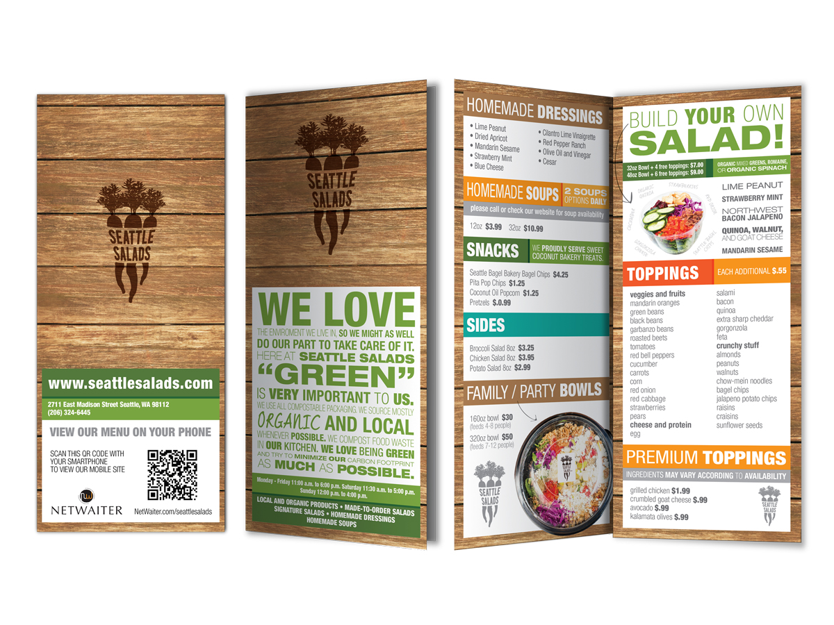 Menu Design By Zee For Seattle Salads 1342851