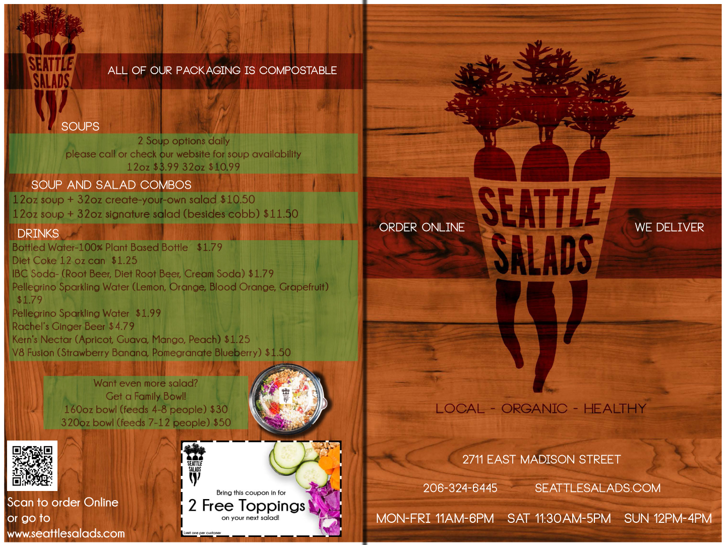 modern colorful it company menu design for seattle salads by eric