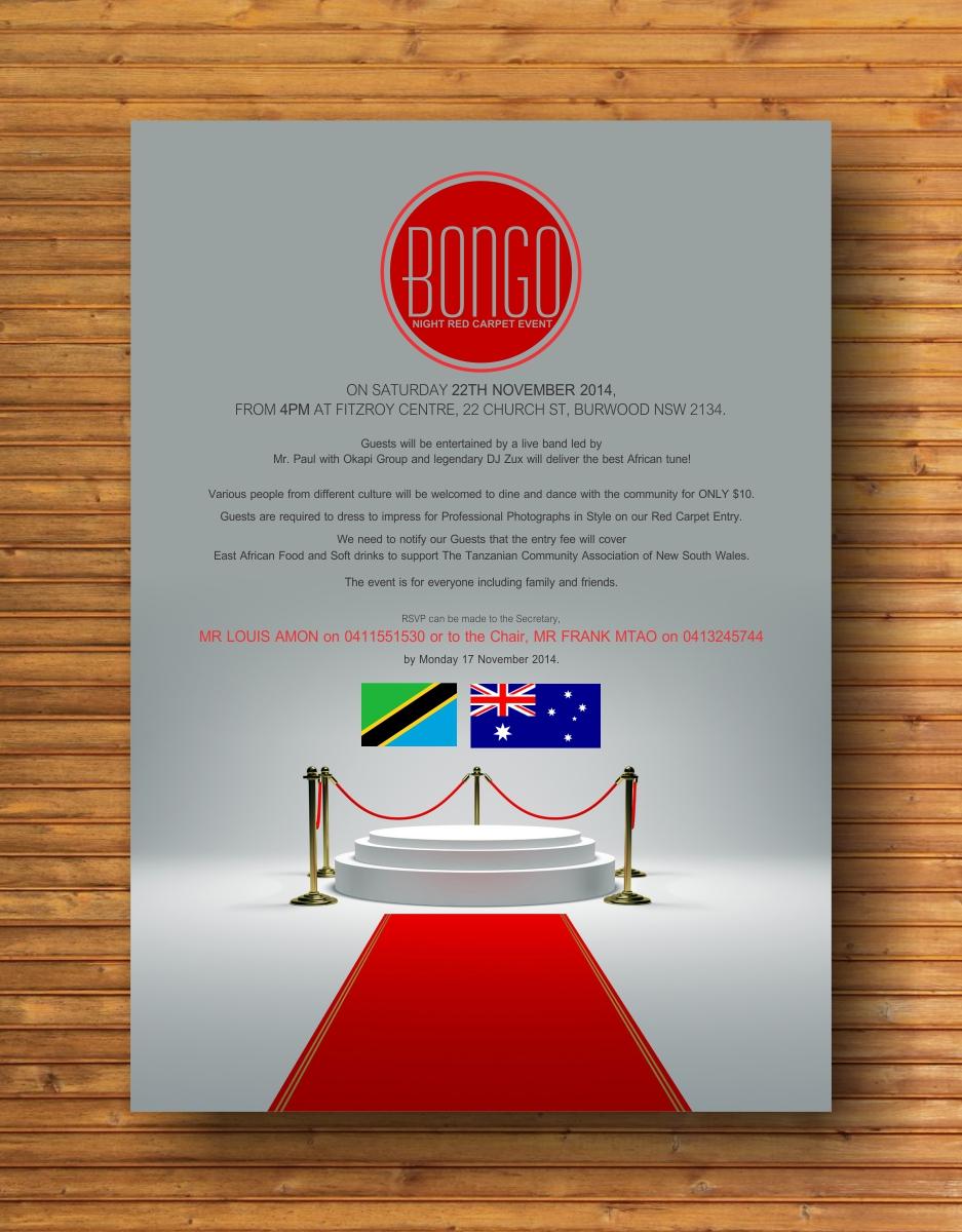 Poster design fee - Poster Design By Cb1318cb1318 For Bongo Night Red Carpet Event Design 4745439