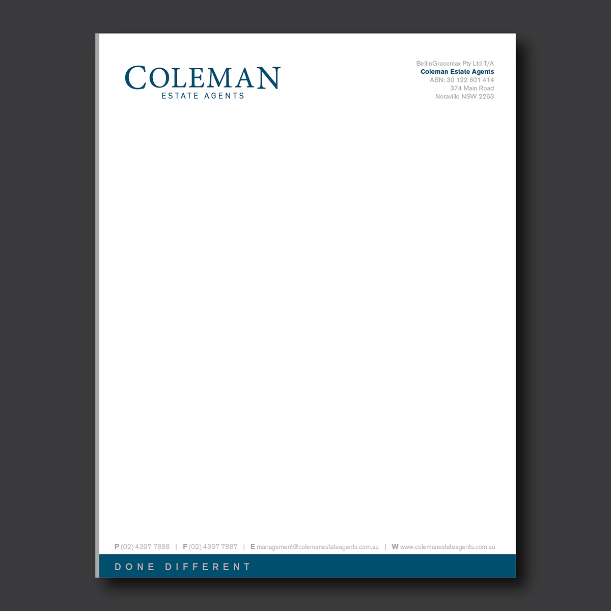 It Company Letterhead Design For Coleman Estate Agents By