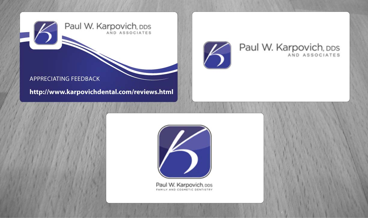 modern professional business card design for paul karpovich dds