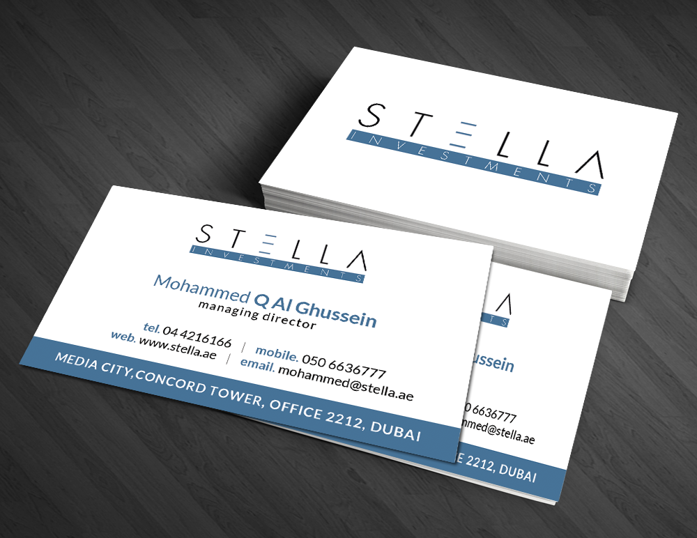Modern masculine business card design for mohammed alghussein by business card design by artman for stella investments design 4760775 reheart Image collections
