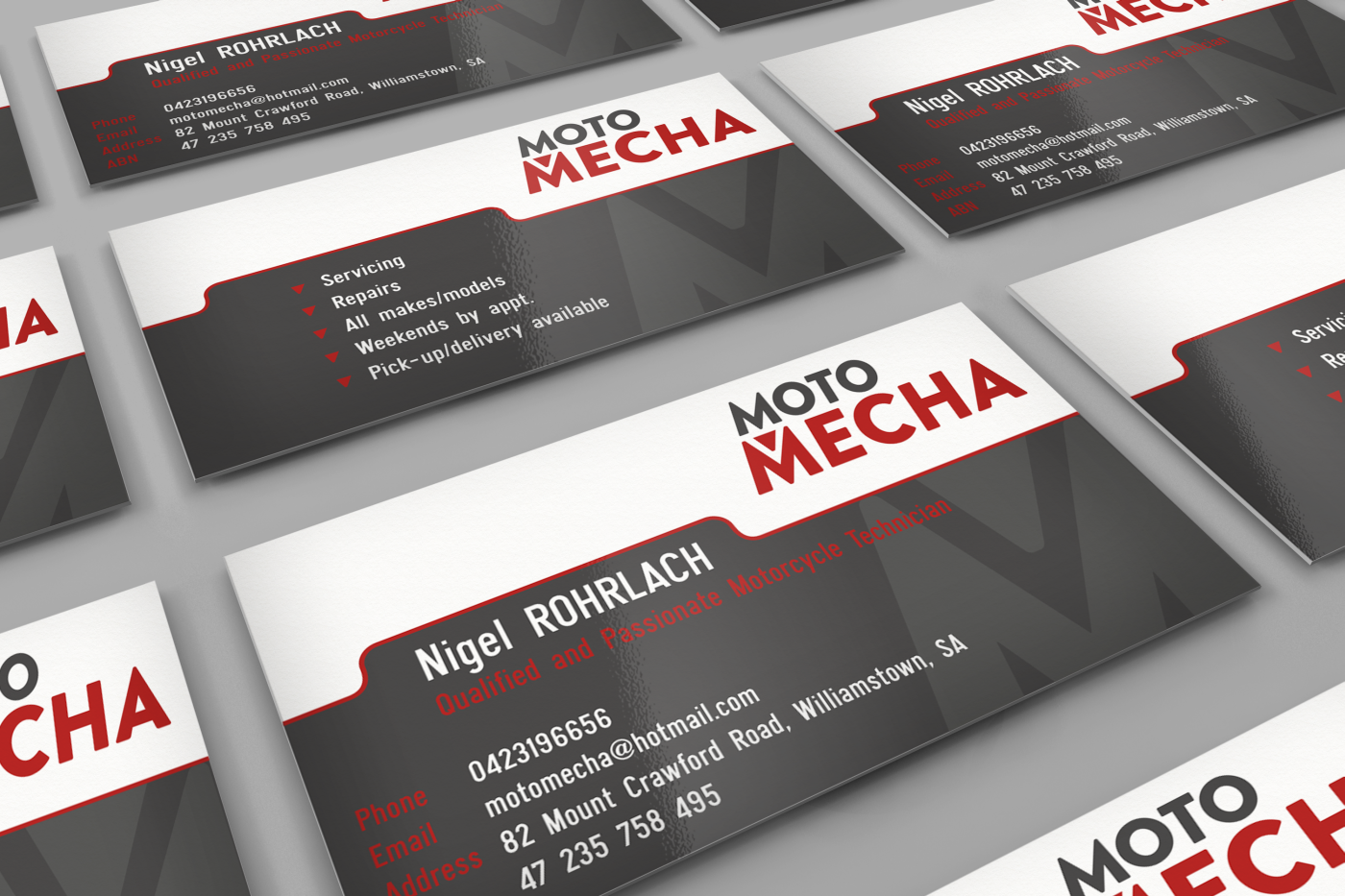 Elegant Playful Racing Business Card Design For Moto Mecha By