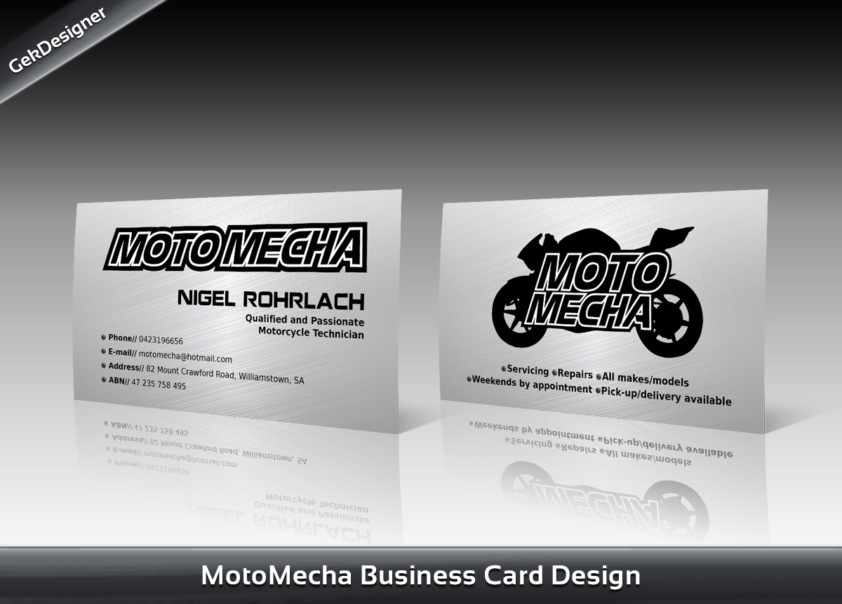 Elegant Playful Racing Business Card Design For Moto Mecha By Gek