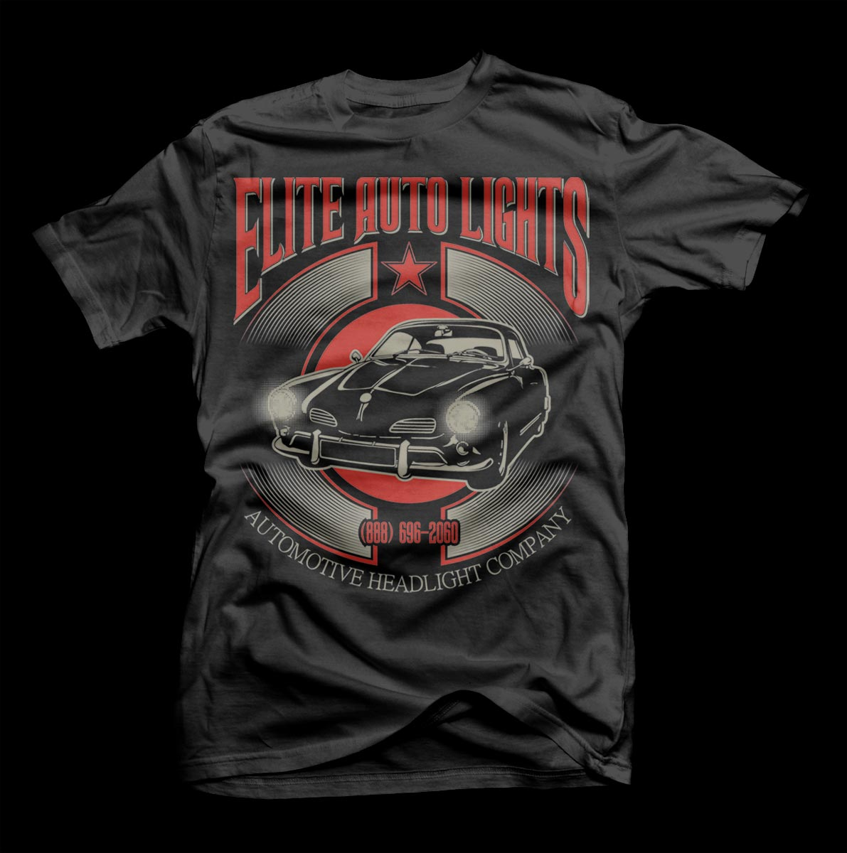 Modern masculine t shirt design for elite auto lights by for Modern t shirt designs