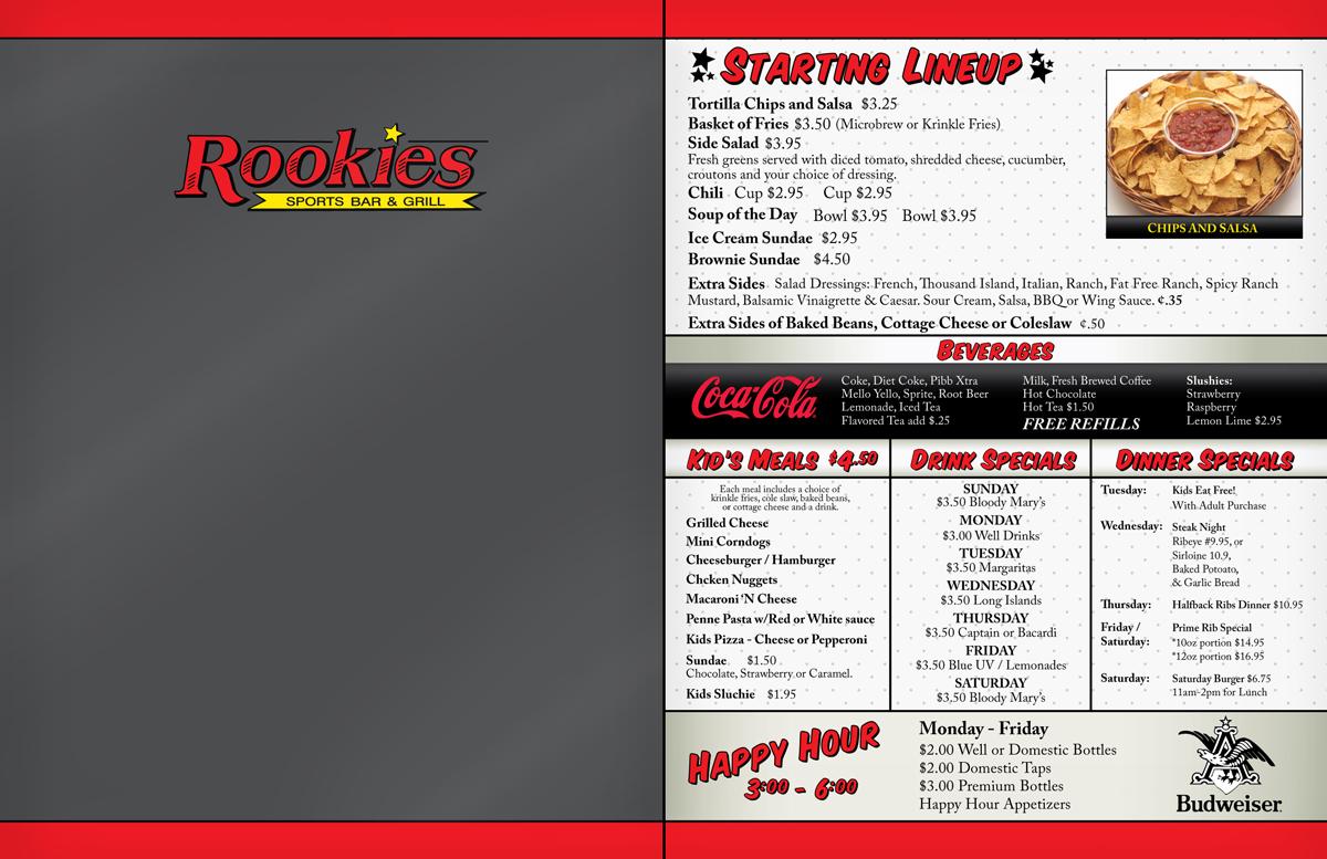 sports bar menu design for a company by gargantuan media | design