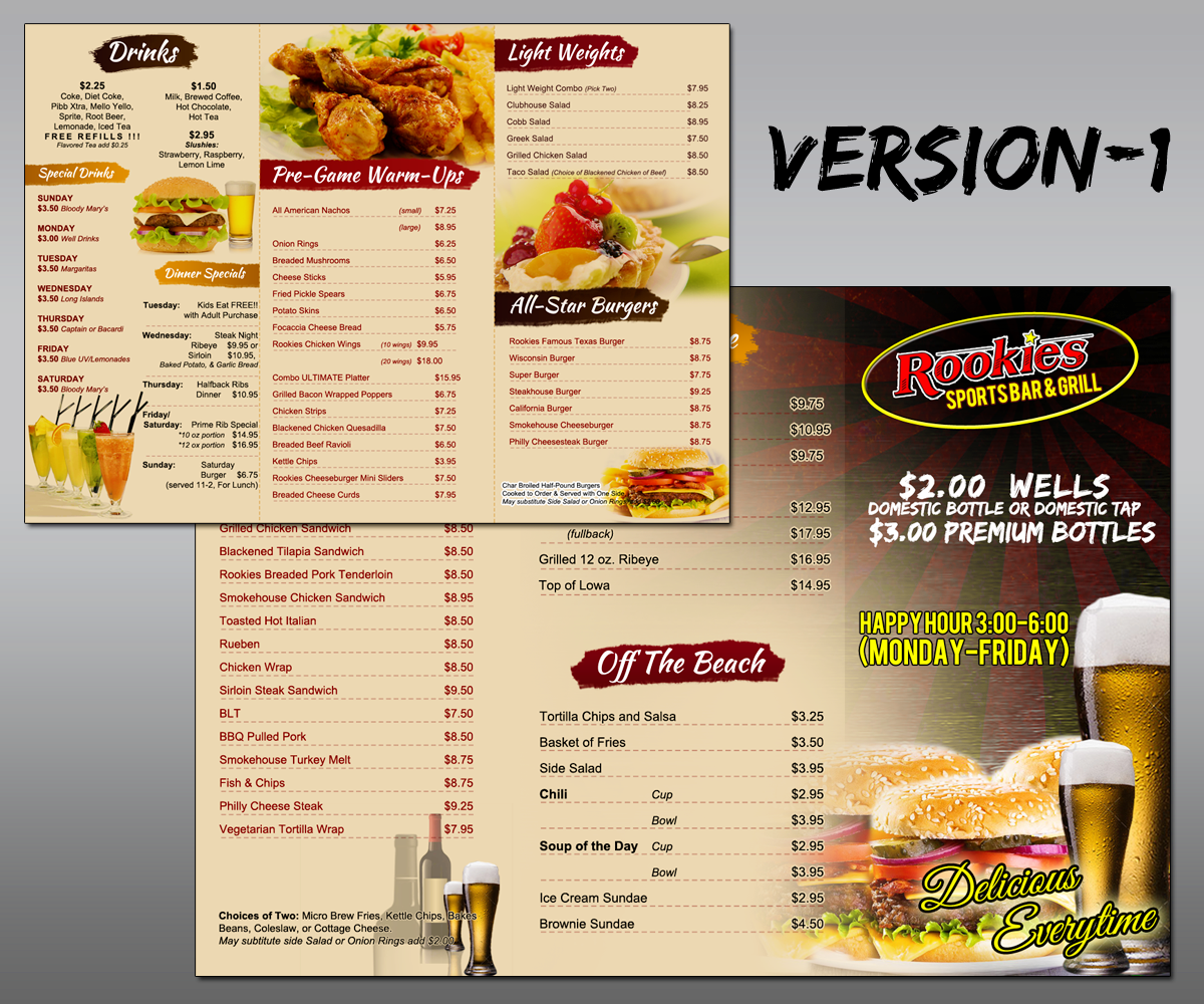 Menu design by mdesigns design 5181779 for Food bar menu
