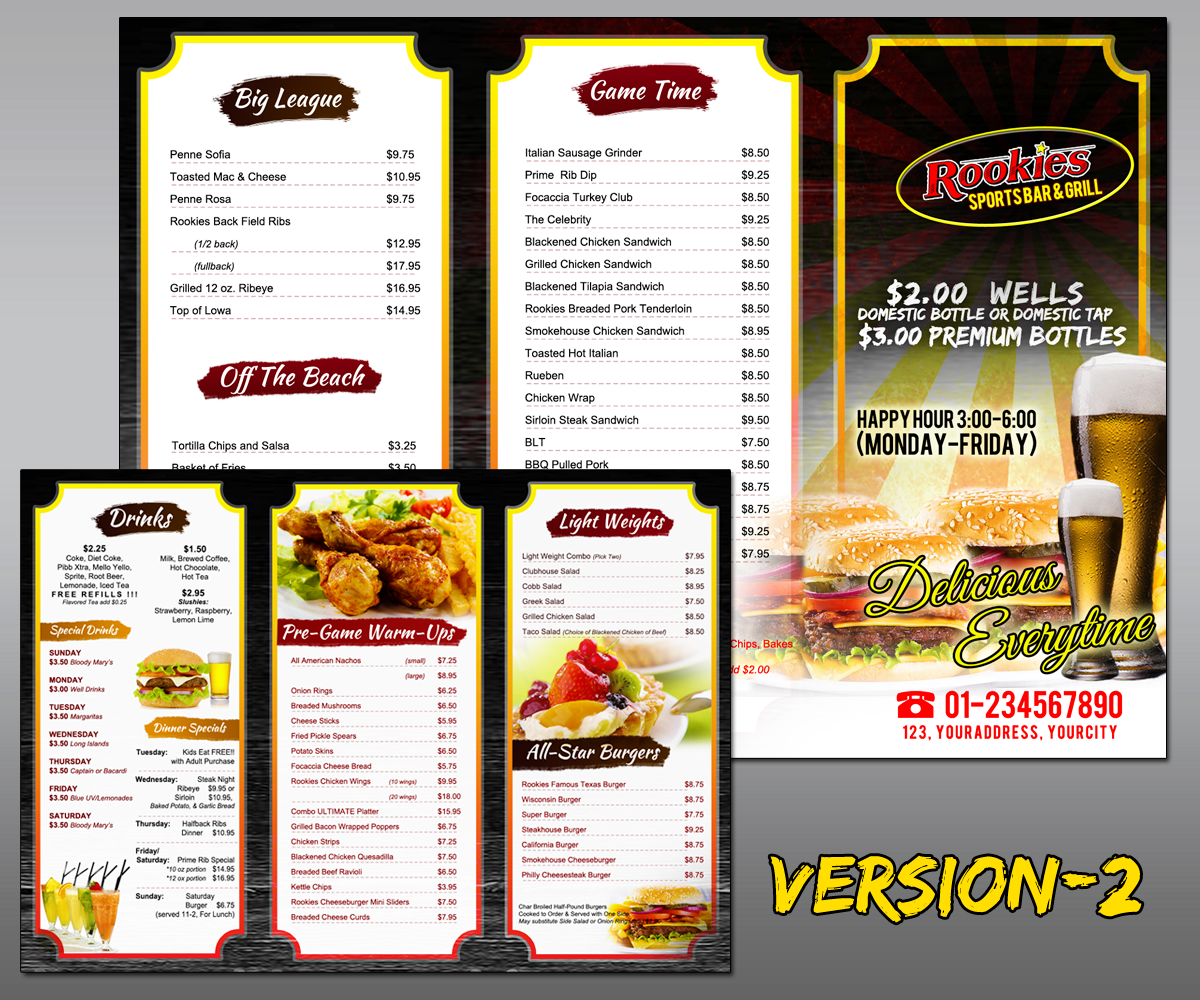 Menu design for curtis gomes by mdesigns design 5181865 for Food bar menu