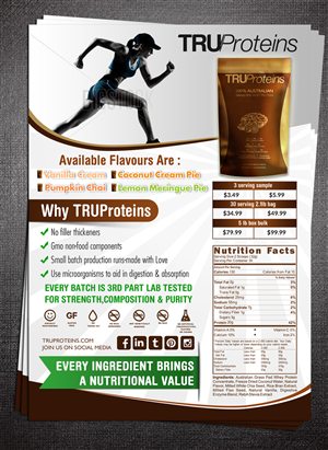 Flyer Design by ESolz Technologies - TRUProteins Product Sheet