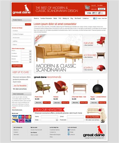 best furniture websites design. modern upmarket furniture store web design by james best websites