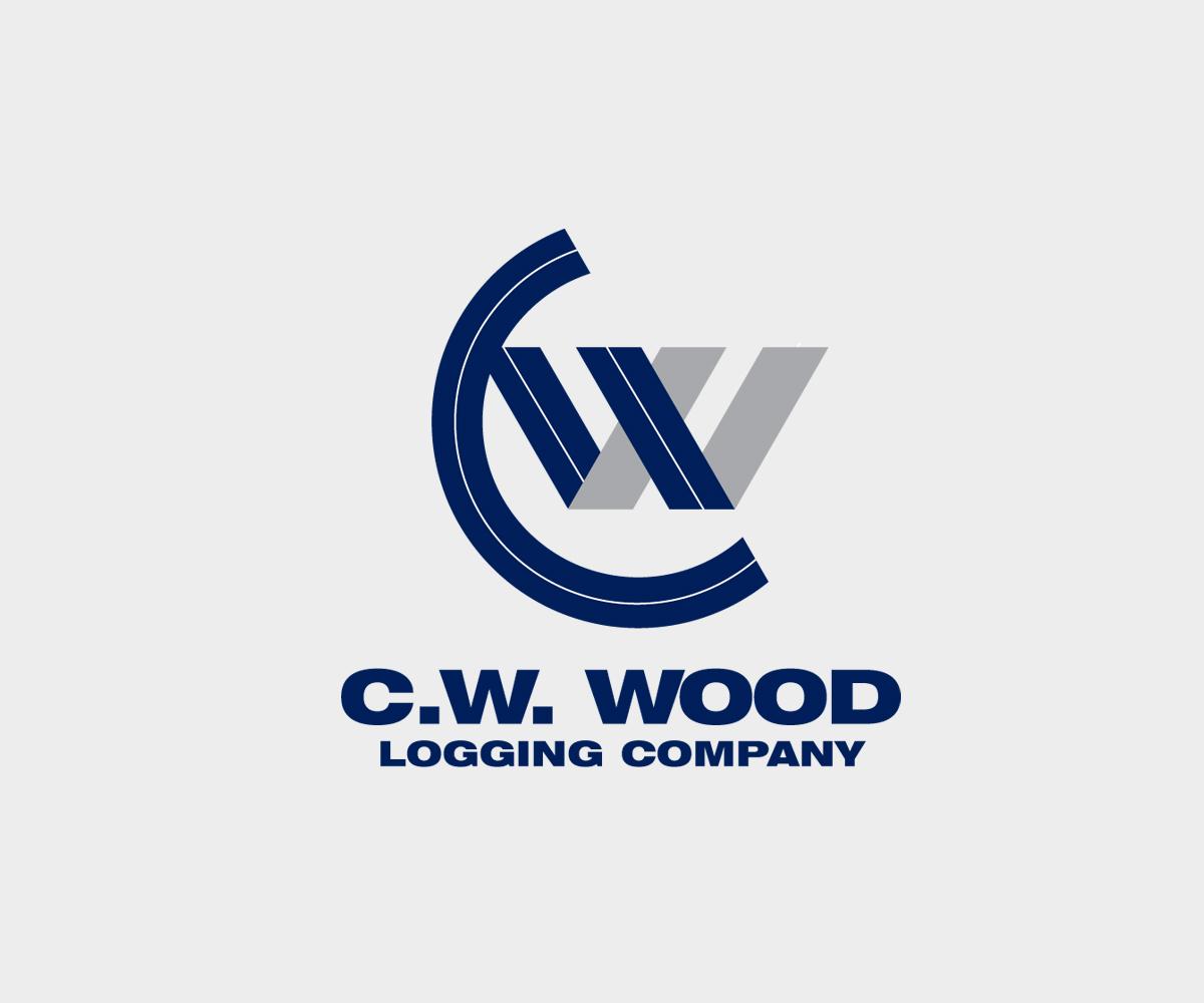 Masculine Bold Logo Design For C W Wood Logging Company