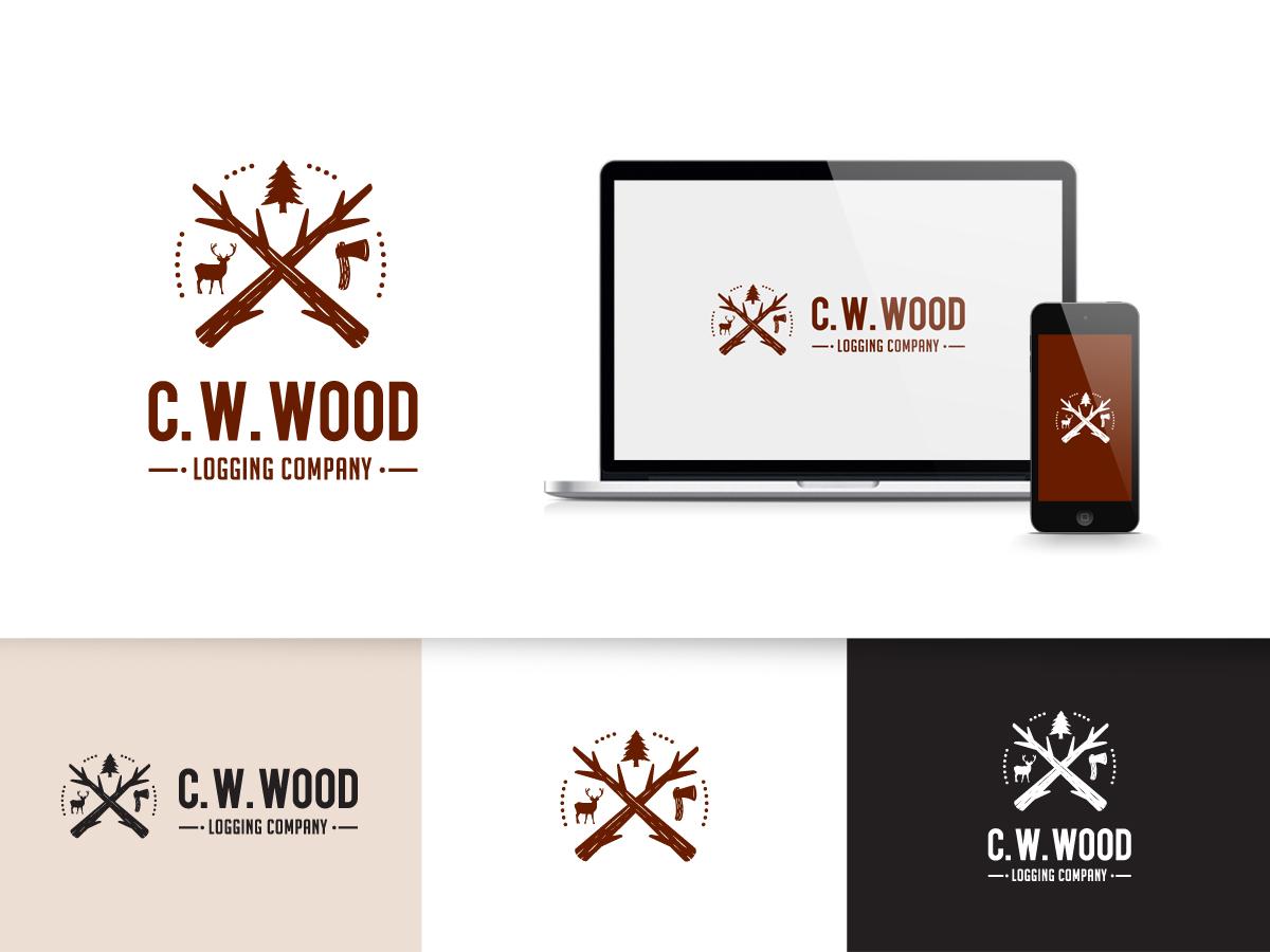 Logo Design By Goh For CWWood Logging Company