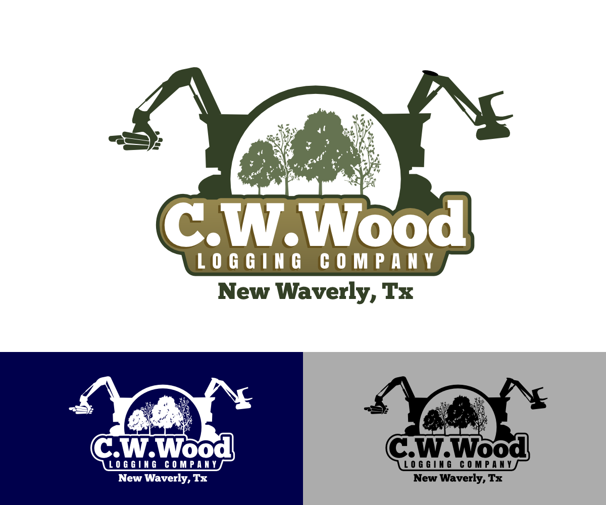 Masculine Bold Logo Design For C W Wood Logging Company