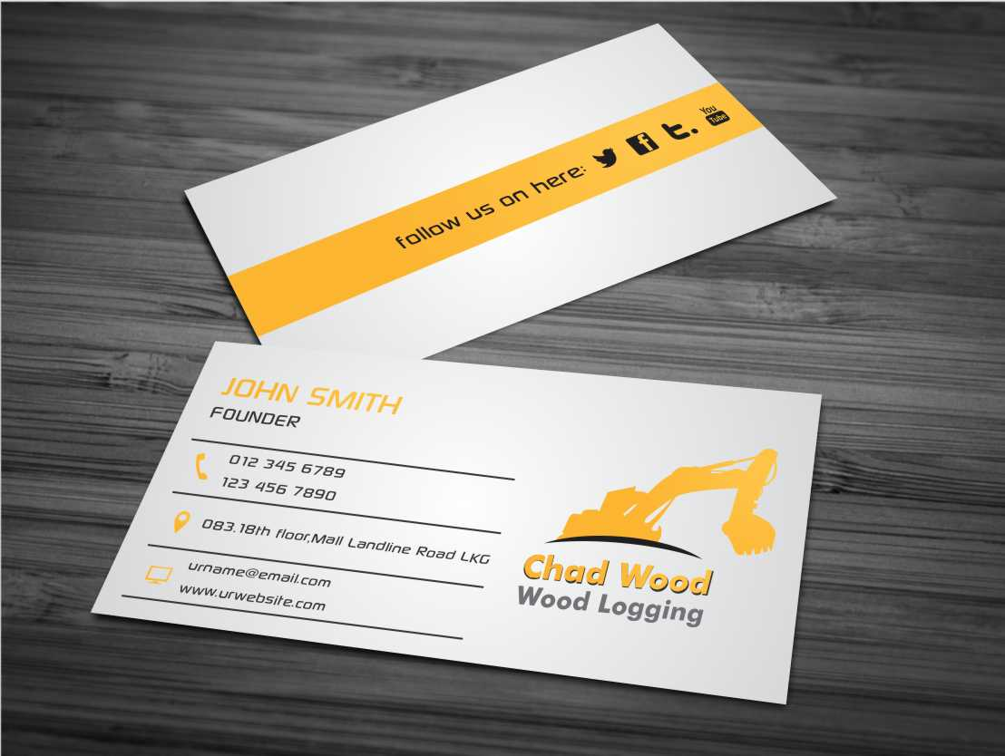 Professional, Masculine Business Card Design for C.W.Wood Logging ...