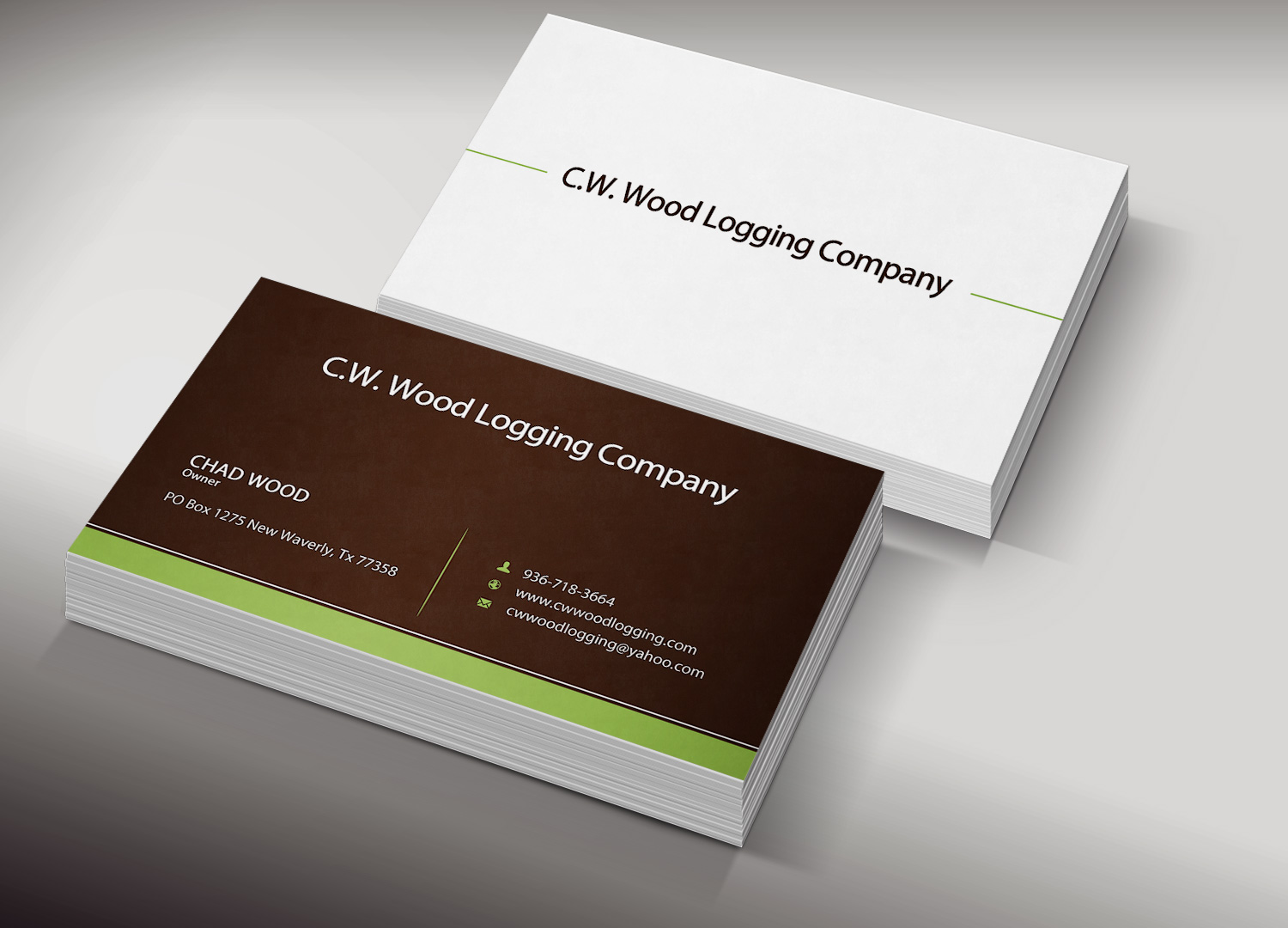 Professional masculine business card design for cwwood for Logging business cards