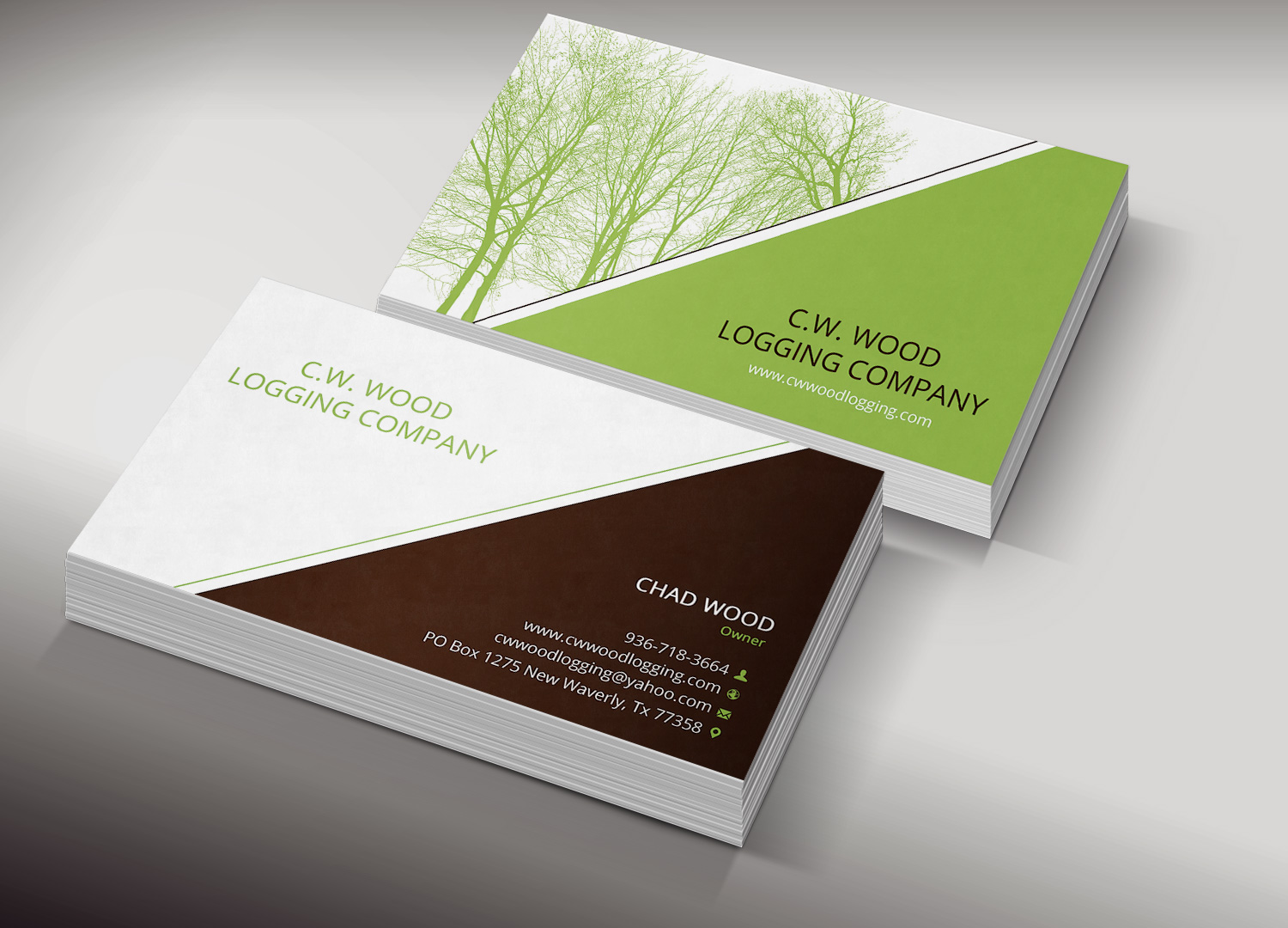 Business cards wood green choice image card design and for Logging business cards