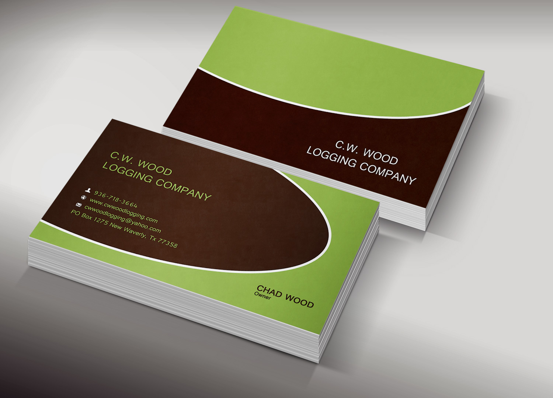 Professional, Masculine Business Card Design for C.W.Wood Logging ...