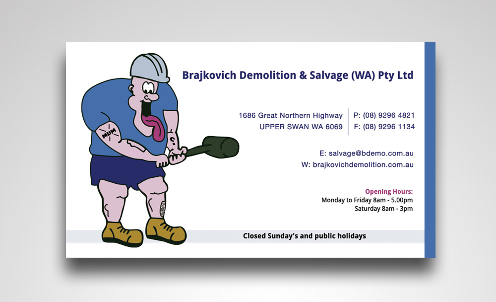 Business card design for brajkovich demolition salvage wa pty business card design by satyajit sil creations for business cards for demolition salvage company colourmoves