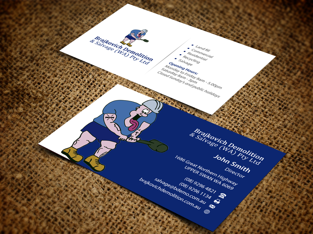 Building business card design for brajkovich demolition salvage business card design by pixelfountain for brajkovich demolition salvage wa pty ltd colourmoves