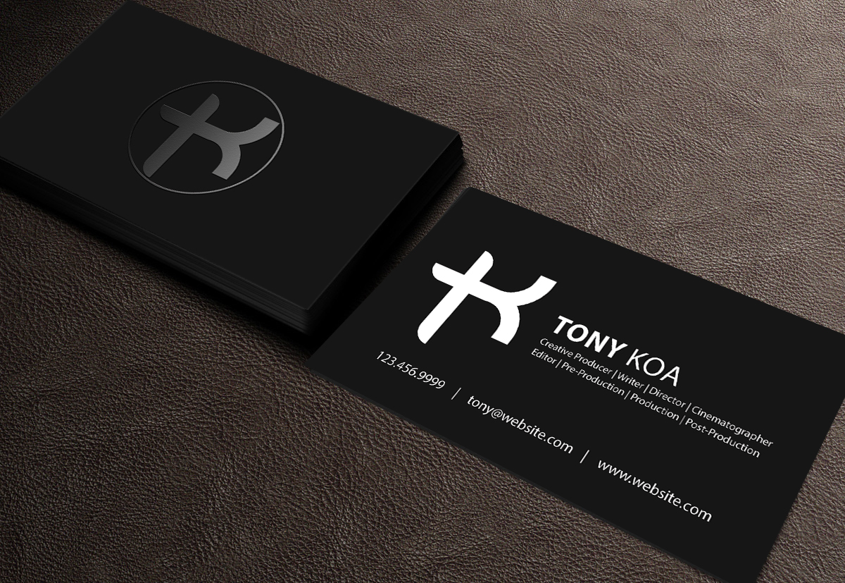 Upmarket masculine business card design for tony koa by for Videographer business cards