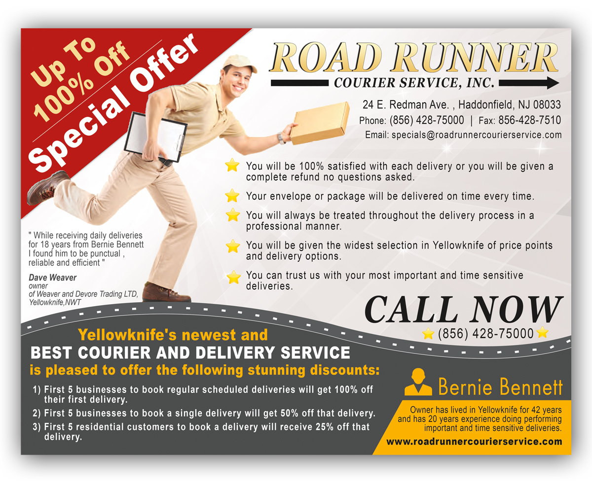 serious professional flyer design for bernie bennett by nebojsa flyer design by nebojsa aleksic for road runner courier delivery services needs a flyer