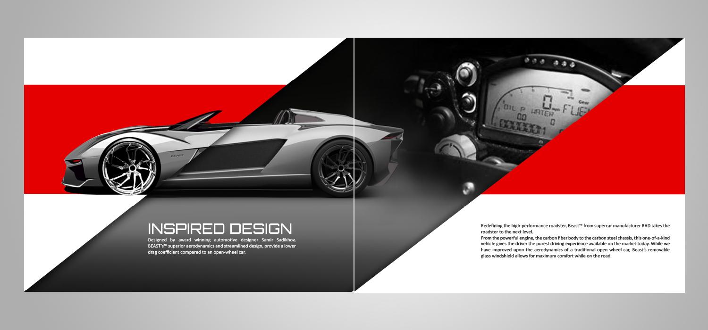 Modern masculine catalogue design for rezvani motors by for Automobile brochure design