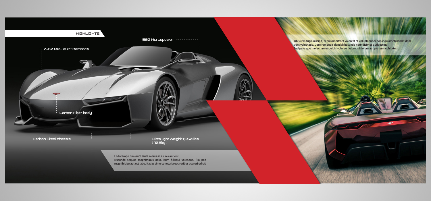 Modern masculine advertising catalogue design for for Automobile brochure design