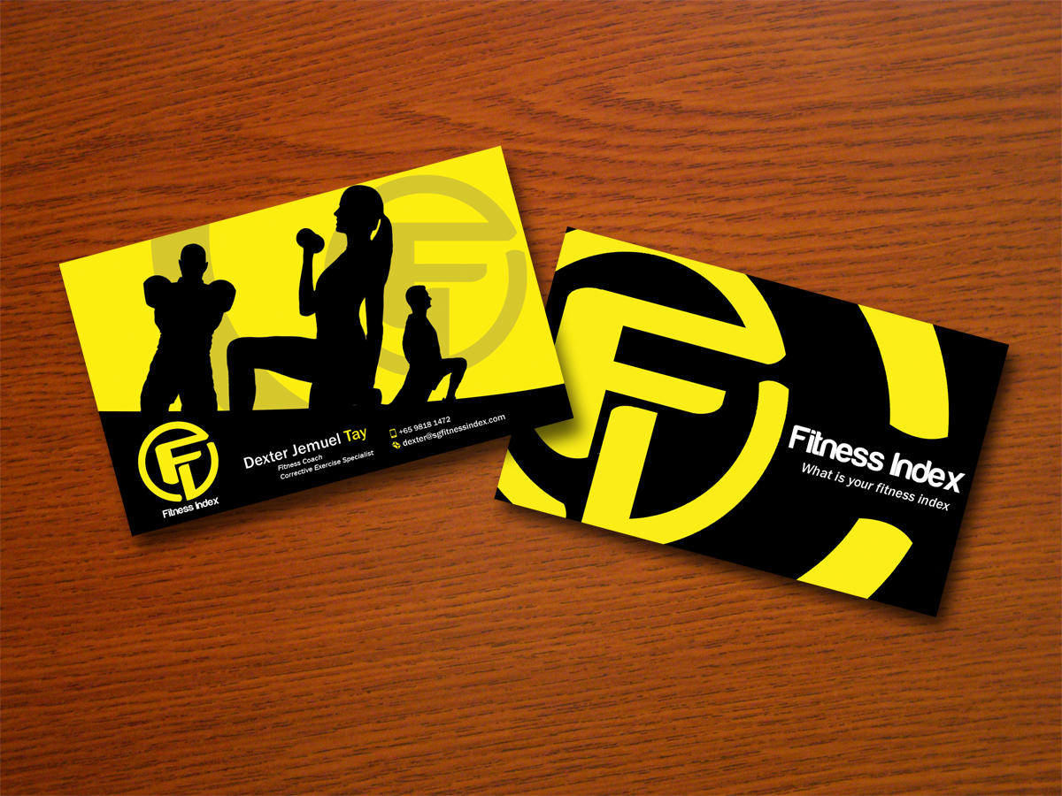 modern upmarket training business card design for fitness index by