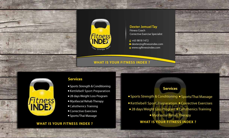 Modern upmarket business card design for fitness index by sbss business card design by sbss for fitness centrepersonal trainer business card design colourmoves Gallery