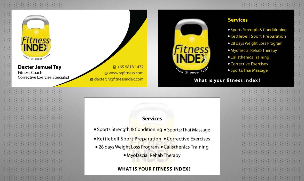Modern, Upmarket Business Card Design for Fitness Index by Sbss ...