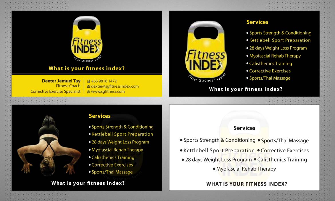 Modern upmarket training business card design for fitness index by business card design by sbss for fitness index design 1372857 colourmoves