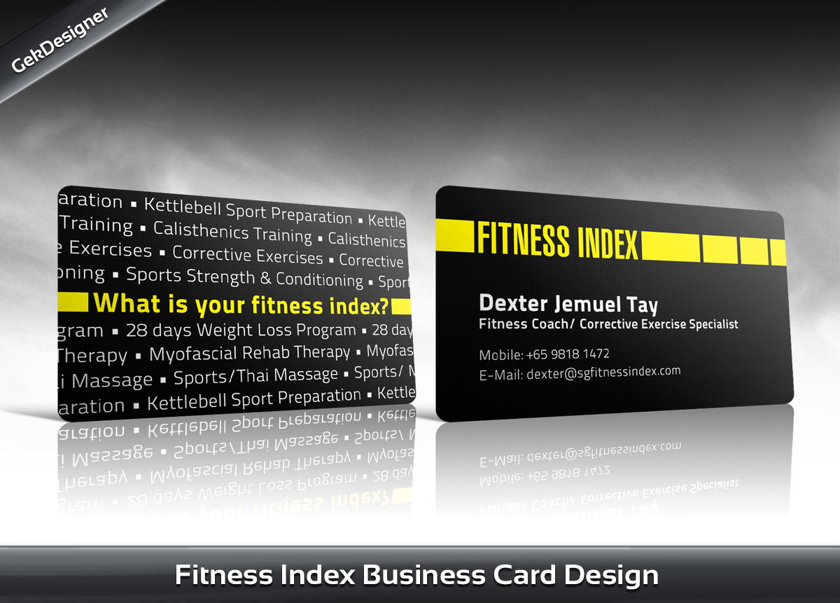 Modern upmarket business card design for fitness index by gek business card design by gek for fitness centrepersonal trainer business card design reheart Image collections