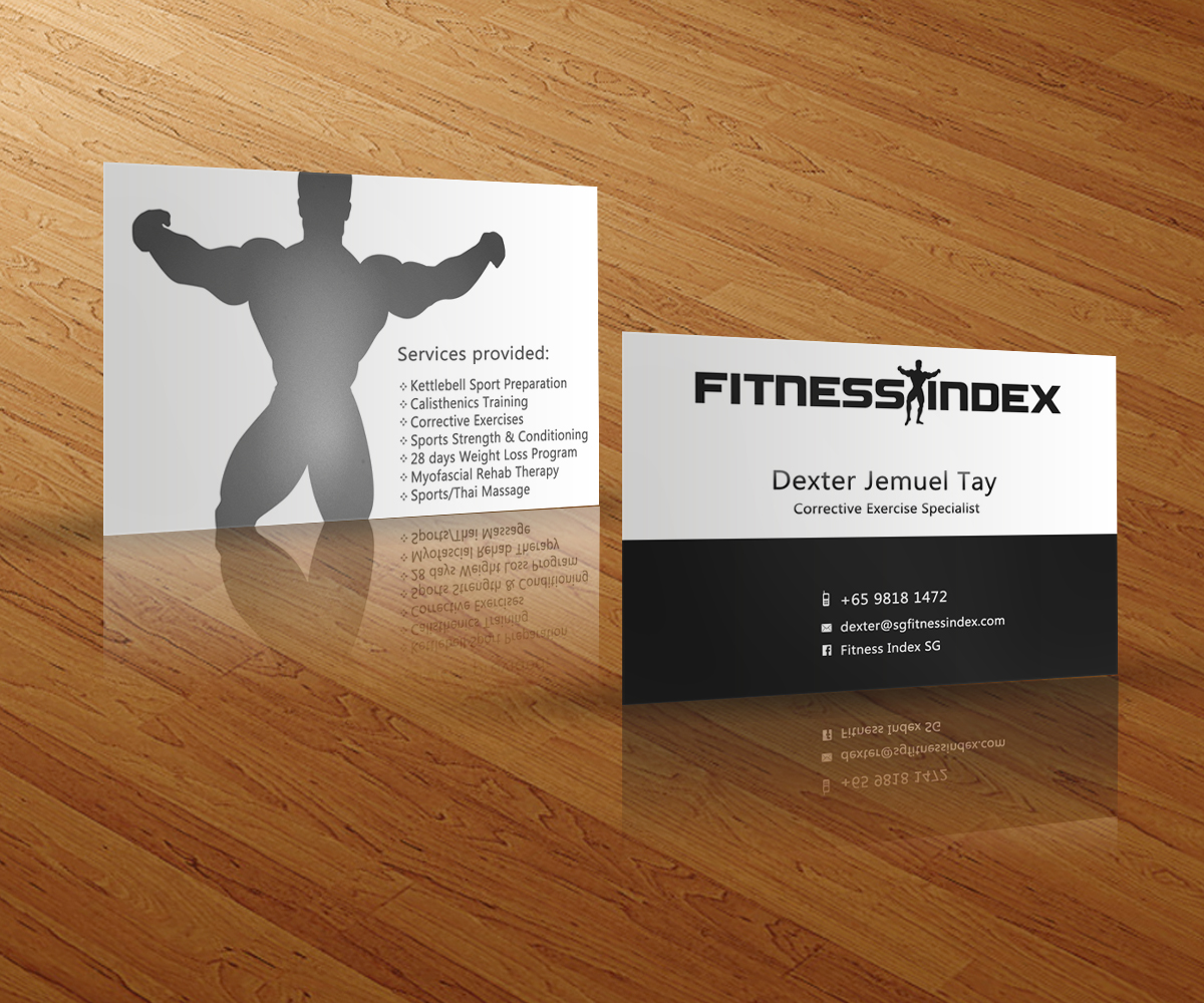 Modern, Upmarket Business Card Design for Fitness Index by Shoji ...