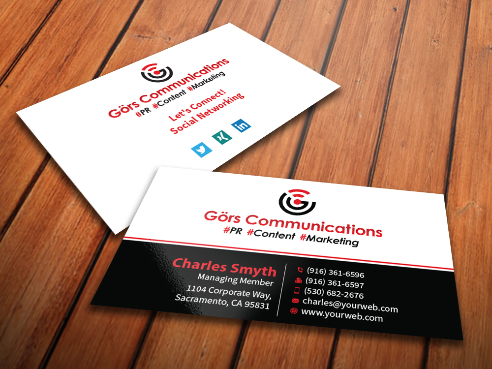 Business card design for grs communications by mediaproductionart business card design by mediaproductionart for pr marketing consultancy agency needs a online reheart Images